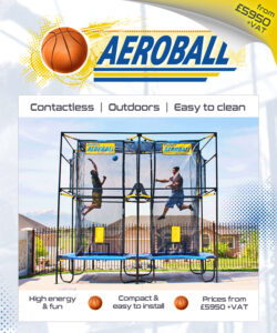 Aeroball, activity, high energy, Contactless, Outdoors, Easy to clean, post lockdown, reopen, new activity, social distancing compliant, easy installation, basketball, volleyball, trampoline